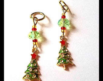 Hearing Aid Charms: Jeweled Petite Christmas Trees with Glass and Czech Glass Accent Beads!