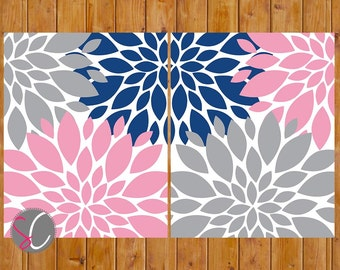Flower Nursery Wall Art Floral Burst Gray Navy Blue Pink Set of 2 Decor Bedroom Art  8x10 Digital JPG Files Printable Instant Download (180)