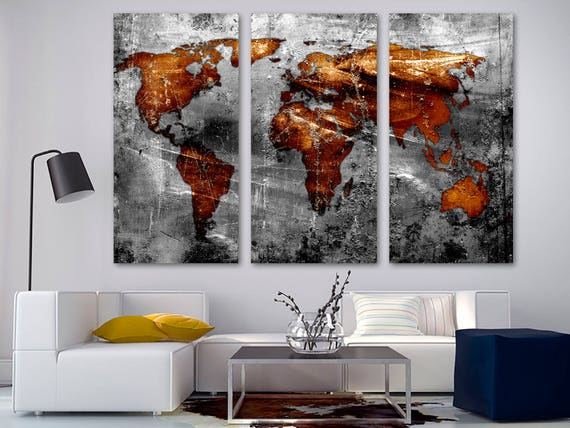 Copper gray world map canvas print wall art 3 panel split gumiabroncs Image collections