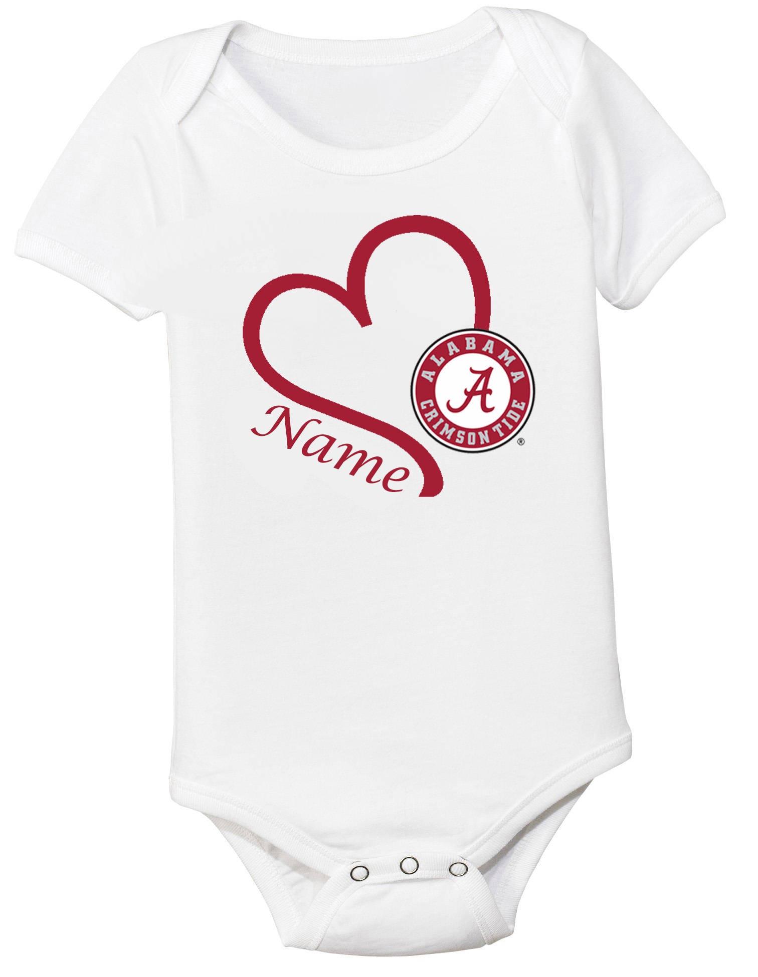 Alabama Crimson Tide Personalized Heart Baby Bodysuit