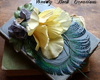 Tea With Lily Hair Clip Fascinator - Yellow, Steampunk, ATS, Tribal Fusion, Belly Dance, Vintage Jewelry Assemblage
