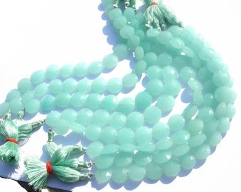 8 Inch strand 13x13mm Aqua Blue Chalcedony faceted coin beads 15 Pcs