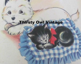 Digital Download, Vintage Kitten, Puppy Images, 1940's Puppy, Kitten Illustrations, Printable Images, Scrapbooking