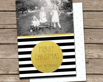 Photo Christmas Card Template: Gold Dot Black & White Stripes Merry Christmas Custom Photo Holiday Card Printable