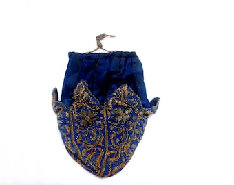 RARE ! SIGNED Edwardian antique beaded purse // silk and leather purse // antique bag //