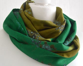 Chartreuse Emerald Green Scarf - Green Infinity Scarf - Lime Green Scarf - Sari Silk Infinity Scarf - Silk Sari Infinity Scarf - CMCISE0335