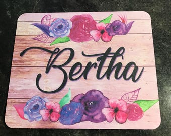 Floral with your name mouse pad