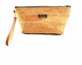 "MTO - 12"" x 7"" x 2""  Natural Cork Wristlet Clutch"