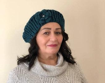 Dark Aqua Women's Crochet Beret