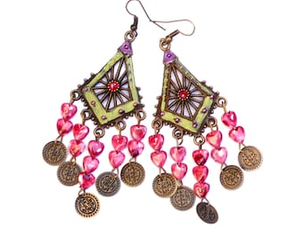 Funky Colorful Boho Chandelier Earrings Painted Hippie Bohemian Jewelry FREE SHIPPING