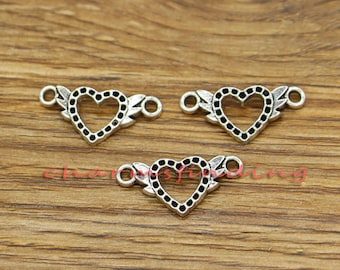 50pcs Winged Heart Charms Connector 2 Sided Angel Wings Charms Antique Silver Tone 21x10mm cf3119