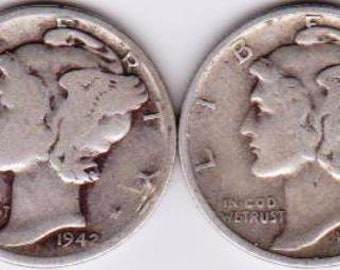 1940, 1941 D, 1942, 1943 S Mercury Silver Dimes