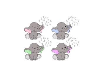 Baby Elephant Clip Art   Nursery / Baby Shower Art Pink Or Blue Ears    Digital
