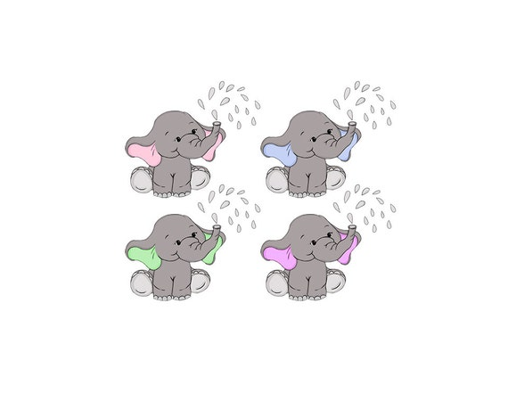 Baby Elephant Clip Art Nursery / Baby Shower Art Pink or