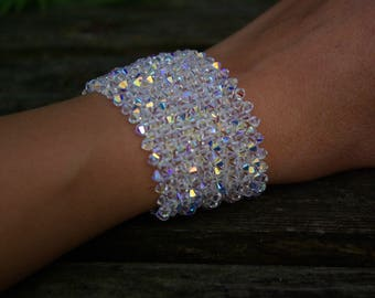 Wedding Bridal Bridesmaid Swarovski Crystal Cuff Bracelet AB Swarovski Bracelet Crystal Swarovski Jewelry Christmas Gift for Wife Sister Mum