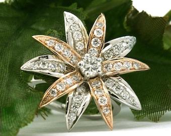 Beautiful Ladies Diamond Flower Ring Design 1.29 carat Round Brilliant cut 18k White and Rose Gold