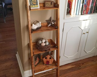 Rustic Wooden Ladder Shelf, Handmade Shelf, Rustic Decor, Tea Stained, Rustic Shelving, Homemade