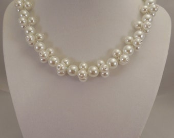 Very Lovely and Elegant, 10mm White Glass Pearl Necklace with 8mm White Glass Pearls Decoration