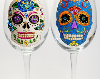 Halloween Party Favor Sugar Skull Wine Glasses, Halloween Glasses Wine Gift, Day of the Dead, Hand painted Glassware
