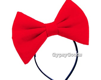 MEDIUM Flannel Hair Bow Adult M-Bow in Red, Black, White, Pink, Blue, Purple or Yellow for costume cosplay comic-con Halloween