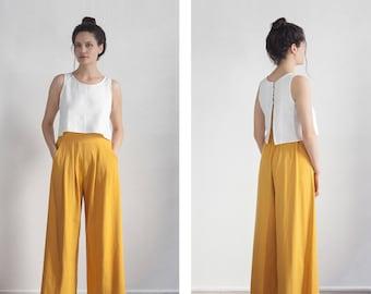 Wideleg Pants, Yellow Mustard Palazzo Pants , High waisted Trouser , tall palazzo pants , petite pants , plus size Pants
