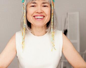 Coachella headband - spiked headband - beaded headband - head jewelry - festival headband - avant garde jewelry - forehead jewelry - crown