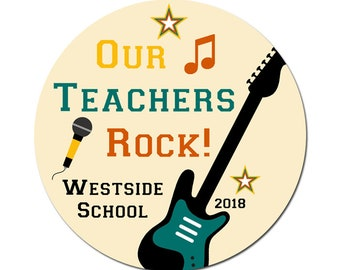 Custom Teacher Labels / Our Teachers Rock / Thank You Labels / Personalized Stickers / Guitar Music Stars / Teacher Gifts