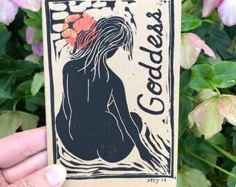 Handprinted moleskine journal, pocketsize journal,goddess notebook, goddess art notebook, strong woman art, Meg Tannehill Justice