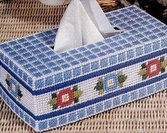 FLOWERS 'N' CHECKS Standard Size Tissue Box Cover -  Needlepoint on Plastic Canvas - Handmade - Hand Stitched
