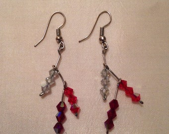 Earrings with 9 colorful beads (made by me)