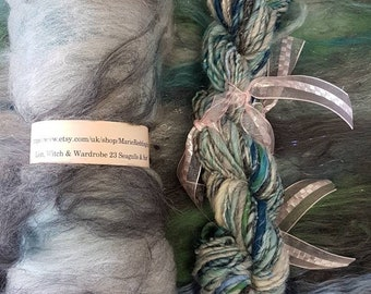 Narnia Art Yarn / Handspun Yarn / 23 Seagulls and Surf / Grey / Silver / Blue / Turquoise / Teal / Single Ply / 50g / Knitting / Crochet