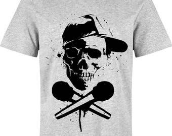RAP SKULL: Design T-shirt for men, 100% handmade