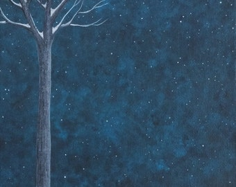 Winter Fox Archival Art Print - Illustration/Night/Snow/Fox Art/Fox Print/Running Fox/Ethereal/Nursery Decor/Christmas Art Gift