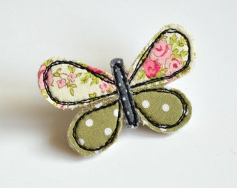 Butterfly brooch, sewn butterfly brooch, butterfly badge, fabric butterfly brooch, butterfly pin, sewn butterfly pin, mothers day gift