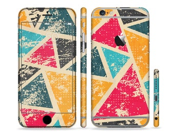 The Chipped Colorful Retro Triangles Six-Piece Sectioned Series Skin Set for the Apple iPhone 6 or 6 Plus