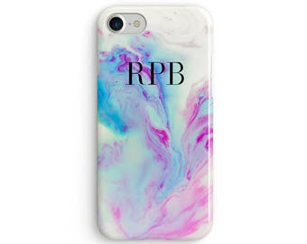 Custom initial marble mermaid pastel  iPhone X case - iPhone 8 case - Samsung Galaxy S8 case - iPhone 7 case - Tough case 1P059