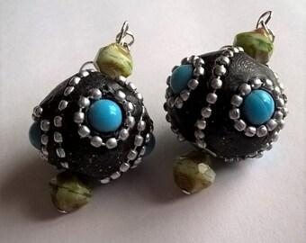 Dangle Earrings: Black, Silver, & Light Blue Kashmiri Beads w/ Cream and Green Czech Glass Beads Surgical Steel Earring Hooks