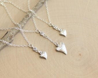 Mother and Two Daughters... Sterling Silver Shark Tooth... Three Piece Necklace Set