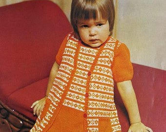 ROBIN 2176 Vintage Knitting Pattern for Girl's Outfit