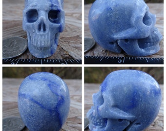 "1.98"" 3.3oz Blue Quartz w/ Dumortierite Skull 93.1g Realistic Crystal Healing Aventurine Mystic Reiki Wicca Large 2 inch Blue SK2613"