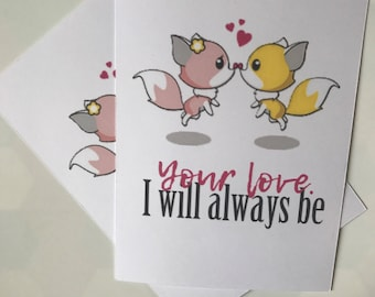 Foxes in love - postcard