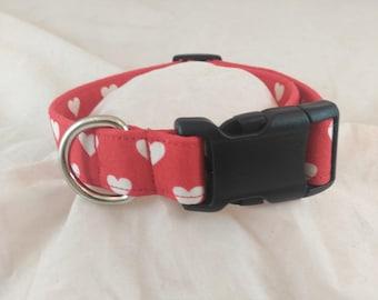 Pet Collars, Dog Collar, Cat Collar, Adjustable Collar, Red Heart Collar, Valentines Collar, Breakaway Collar, collar de perro