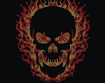 FLAME SKULL Rhinestone Hot Fix Motif Iron On Transfer Lead Free for Halloween Ghost Rider Theme Party