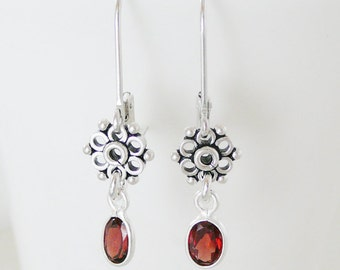 Sterling Gemstone Earrings, Garnet Antiqued Flower Sterling Silver Dangle BFF Jewelry Bridal Party Jewelry Bridesmaid Earrings