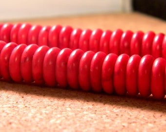 howlite synthetic abacus flat howlite Red - 10.5 mm PE249 20 beads