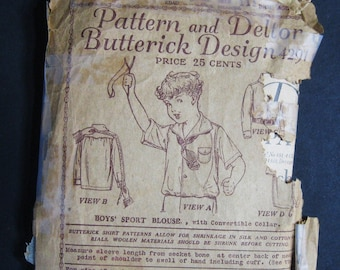 Vintage 1900's Antique Middy Shirt Blouse Boys, Sewing Pattern Butterick 4291, Dated 1919, Edwardian to 1920's, Long & Short Sleeve Size 8