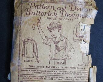 Antique Pattern Middy Blouse Sport Shirt Boy Child, Vintage 1900s Butterick 4291, Dated 1919 Edwardian to 1920's, Long & Short Sleeve