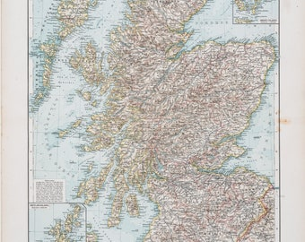 Map of Scotland / Color map / Original / German World Atlas 1896 / Big / 22.5 x17.5 in