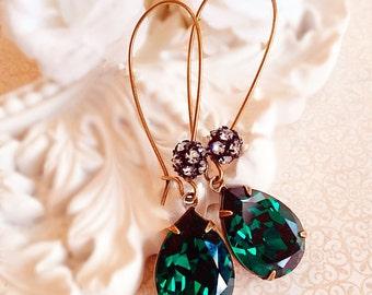 Emerald Earrings - Swarovski - Bridesmaid Earrings - COVET Emerald