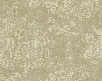 AD1256 Asian Pagoda Scene On Grey Gold Faux York Wallpaper